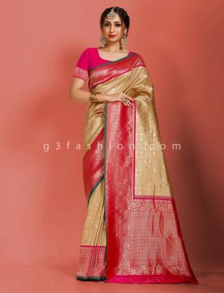 Beige art banarasi silk wedding saree