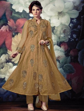 Beige banarasi silk wedding wear ready made anarkali salwar suit