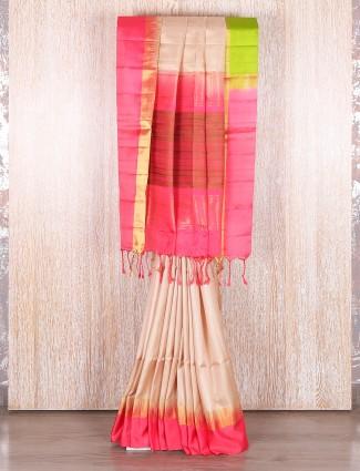 Beige bangalore silk wedding saree