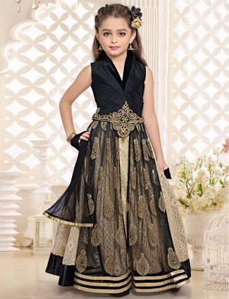 Beige black net silk choli suit