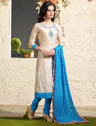 Beige blue chanderi silk salwar suit