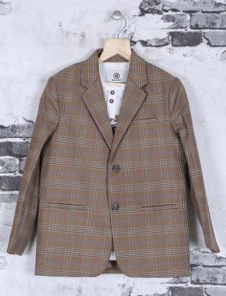 Beige checks pattern terry rayon blazer