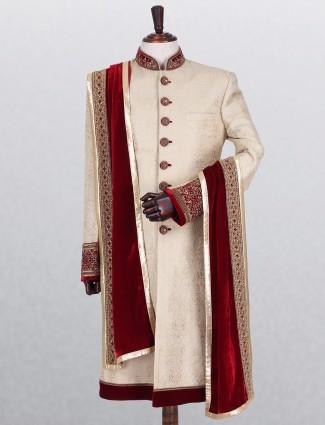 Beige classic silk indo western