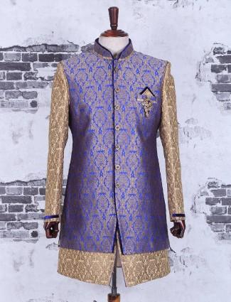 Beige classic silk wedding wear designer indo western