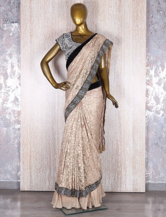 Golden classy jacquard net ready to wear  saree