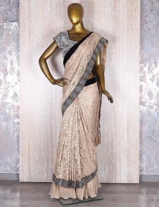 Beige classy jacquard net ready to wear  saree