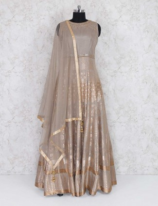 Beige color anarkali suit in raw silk fabric