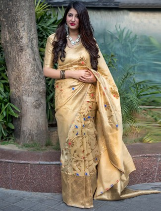 Beige color banarasi silk saree