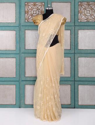Beige color chiffon fabric saree