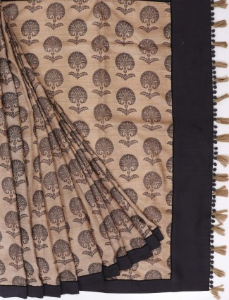 Beige color cotton fabric saree