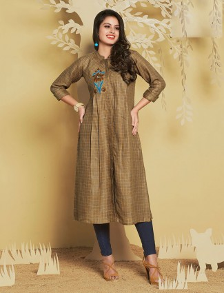 Beige color cotton silk fabric kurti for festive wear
