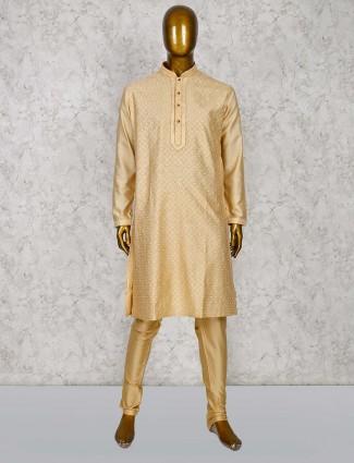 Beige color cotton silk farbic kurta suit for festive