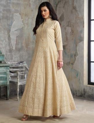 Beige color cotton silk pakistani floor length anarkali salwar suit