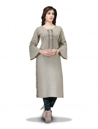 Beige color cotton silk lovely kurti