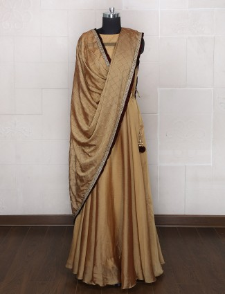 Beige color designer silk anarkali suit