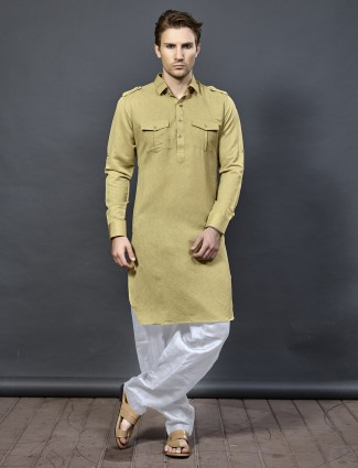 Beige color festive cotton pathani suit