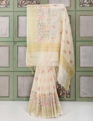 Beige color festive linen fabric saree