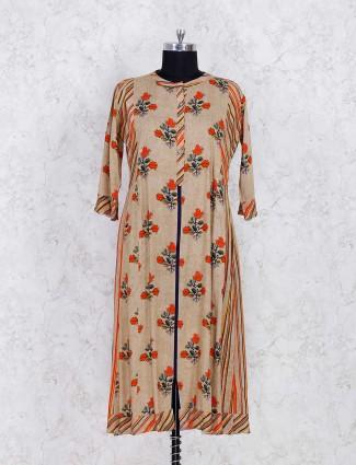 Beige color floral printed kurti set