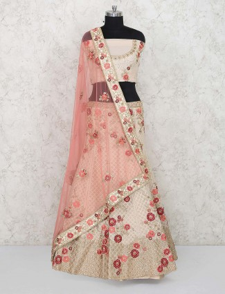 Beige color georgette wedding semi stitched lehenga choli
