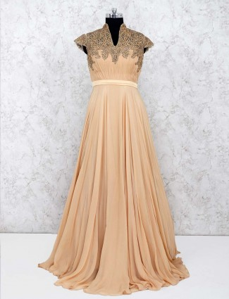 Beige color gown in georgette
