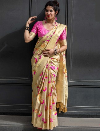 Beige color kanjivaram silk saree