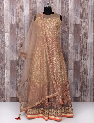 Beige color net anarkali suit for wedding function