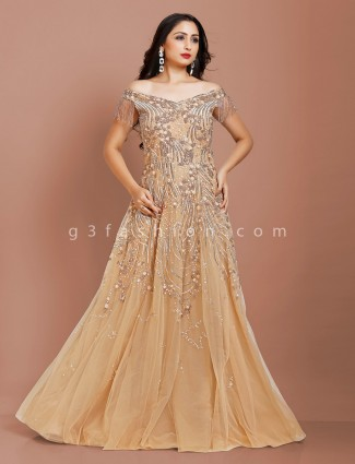 Beige color net fabric party wear gown