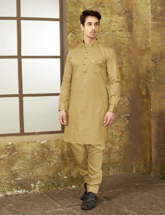 Beige color pathani suit for festive