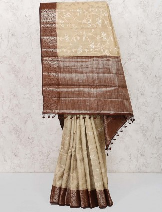 Beige color pretty saree in semi silk