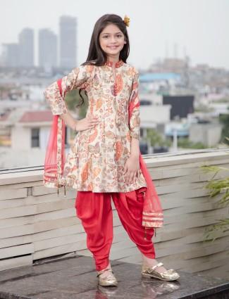 Beige color printed dhoti suit