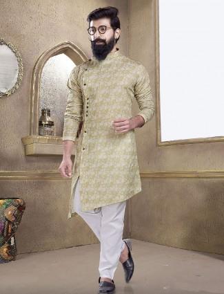 Beige color printed kurta suit
