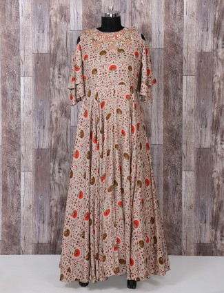 Beige color printed long suit