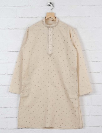 Beige color printed pattern kurta suit