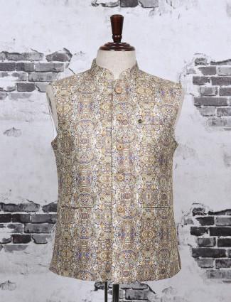 Beige color printed pattern waistcoat