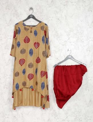 Beige color printed round neck kurti set