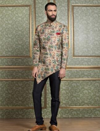 Beige color printed silk indo western