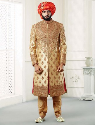 Beige color raw silk fabric sherwani for groom