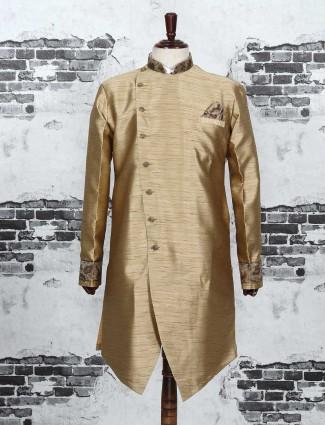 Beige color raw silk indo western