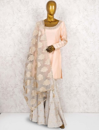 Pink color raw silk pretty sharara suit