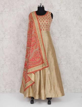 Beige color raw silk wedding wear salwar suit