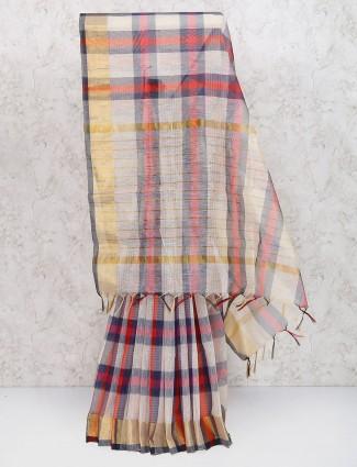 Beige color saree in cotton silk