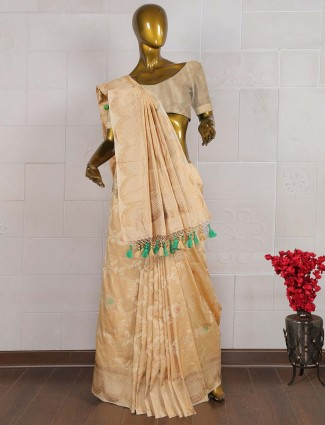 Beige color sari in pure banarasi silk