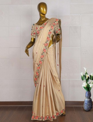 Beige color satin silk wedding saree