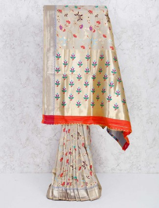 Beige color semi silk wonderful saree