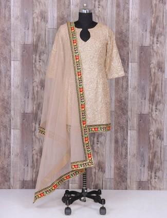 Beige color silk fabric punjabi suit
