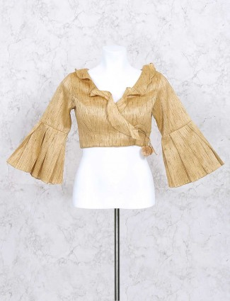 Beige color silk ready made blouse