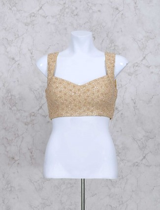 Beige color silk ready made pearl blouse