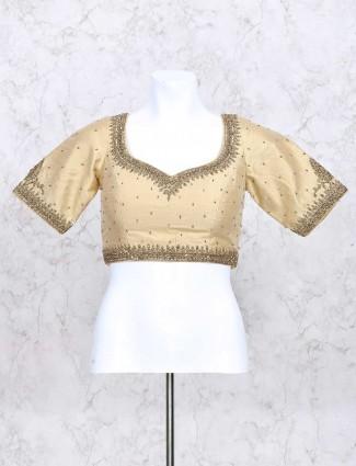 Beige color silk ready made zari blouse