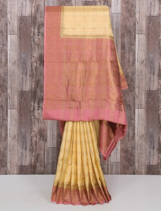 Beige color silk saree for reception wear