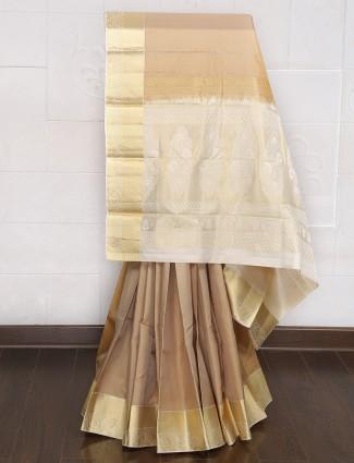 Beige color silk wedding saree